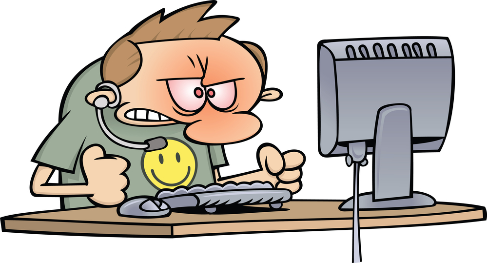 Royalty-free clipart picture of an angry computer support worker baning his fists on his desk, on a white background. The PNG version includes a transparent background.